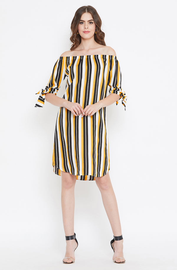Off-Shoulder Yellow and Black Striped Dress