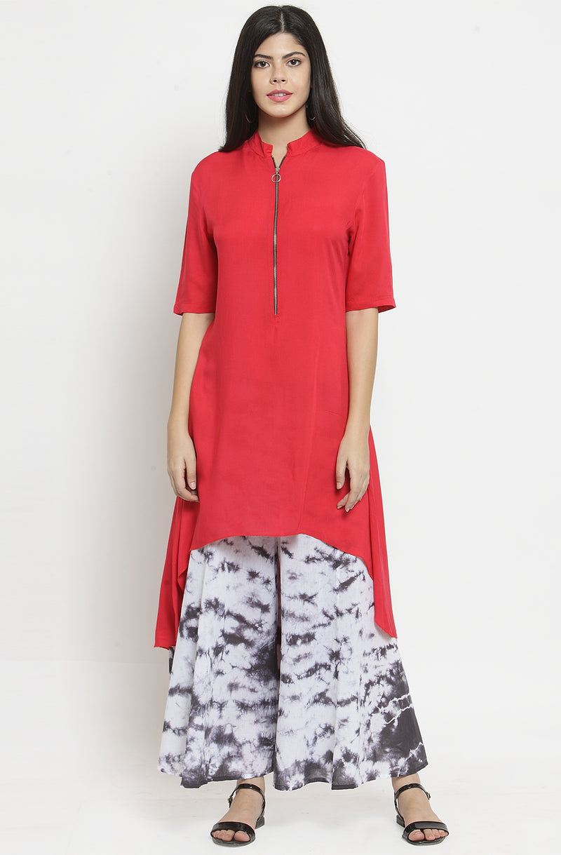 Red Asymmetrical Casual Tunic