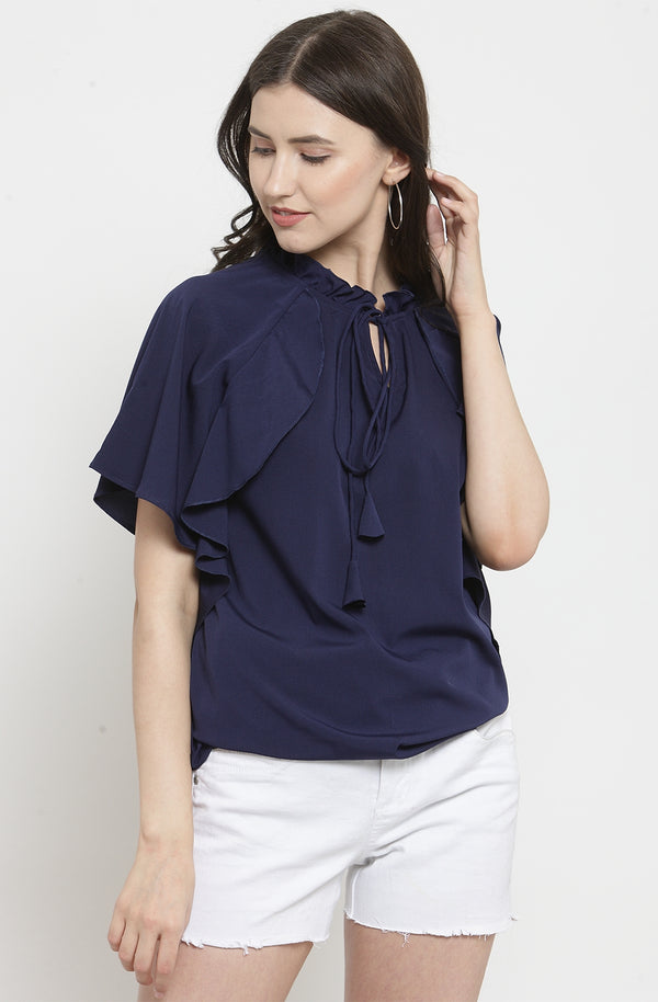 Ruffled Indigo Casual Top