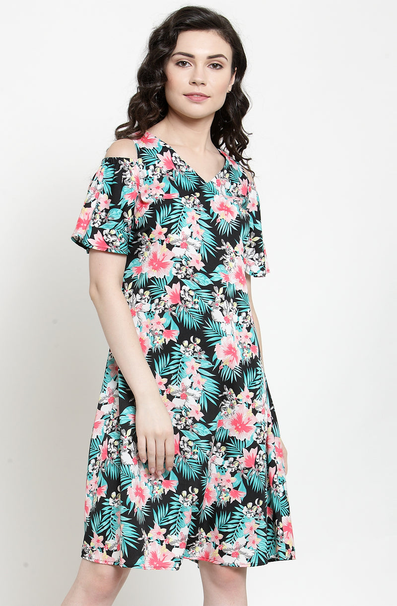 Cold-Shoulders A-Line Casual Dress