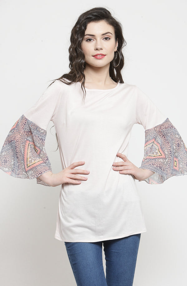 Contrast Flare Sleeve Casual Cotton Top