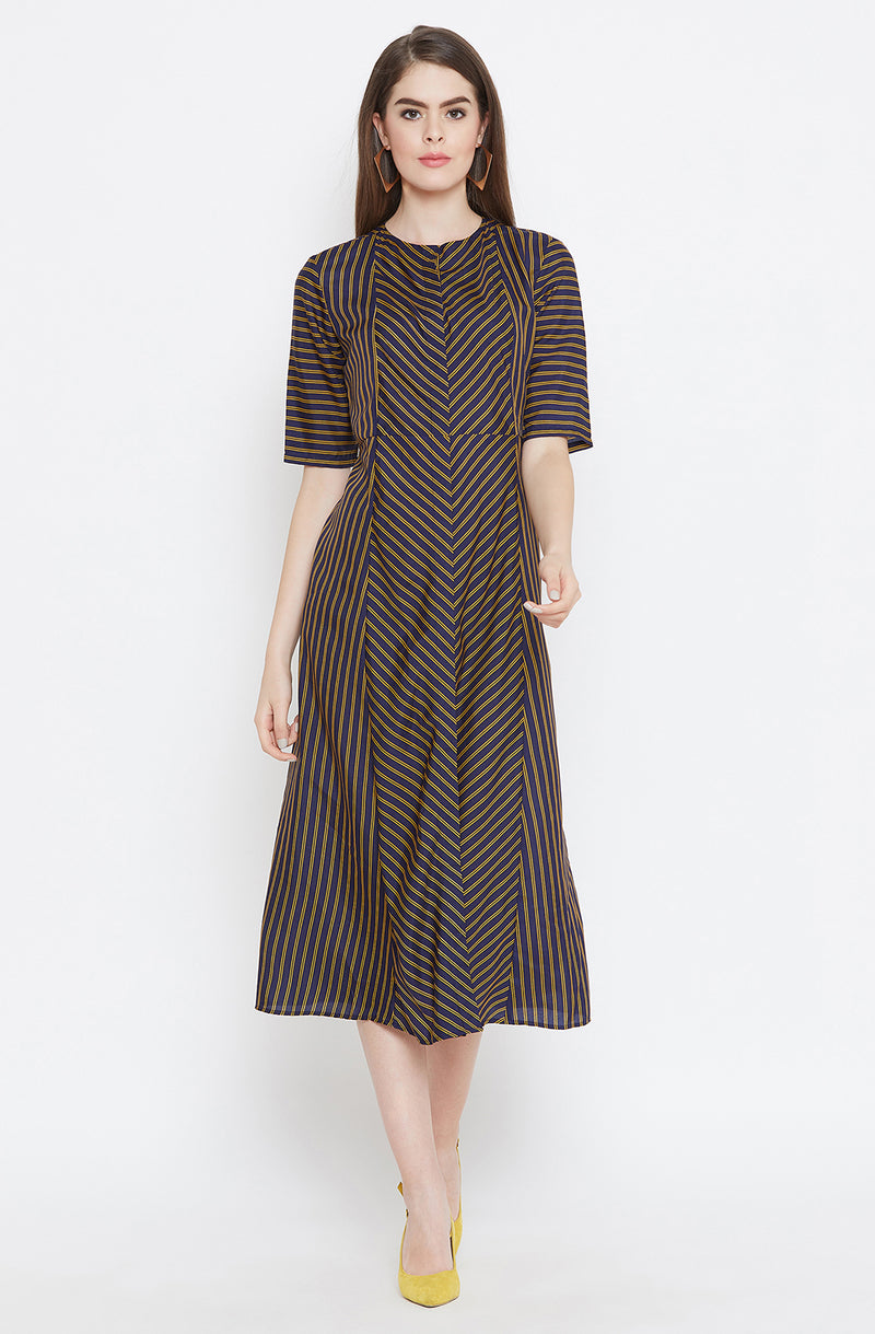 All Striped Casual A-Line Dress
