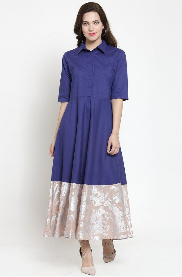 Cotton Indigo Gown with Contrast Shimmery Hem