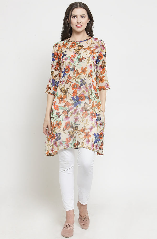 Flower and Butterfly Print Tunic