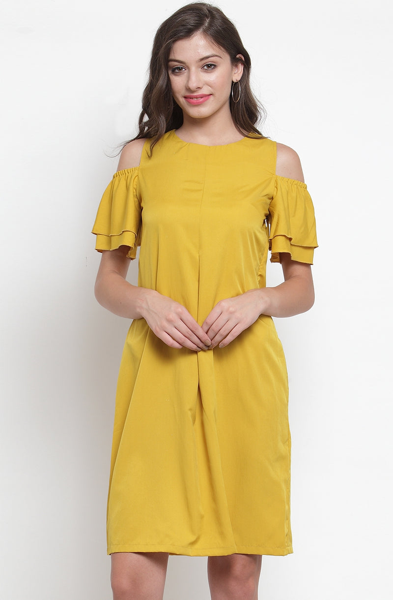 Cold-Shoulder Layered Ruffle Dress