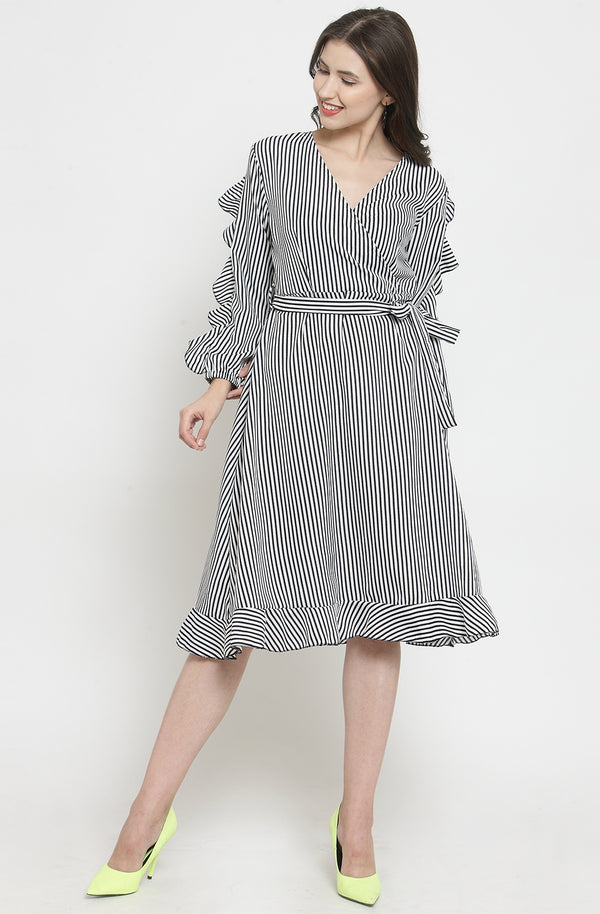 Black Nautical Stripe Casual Dress