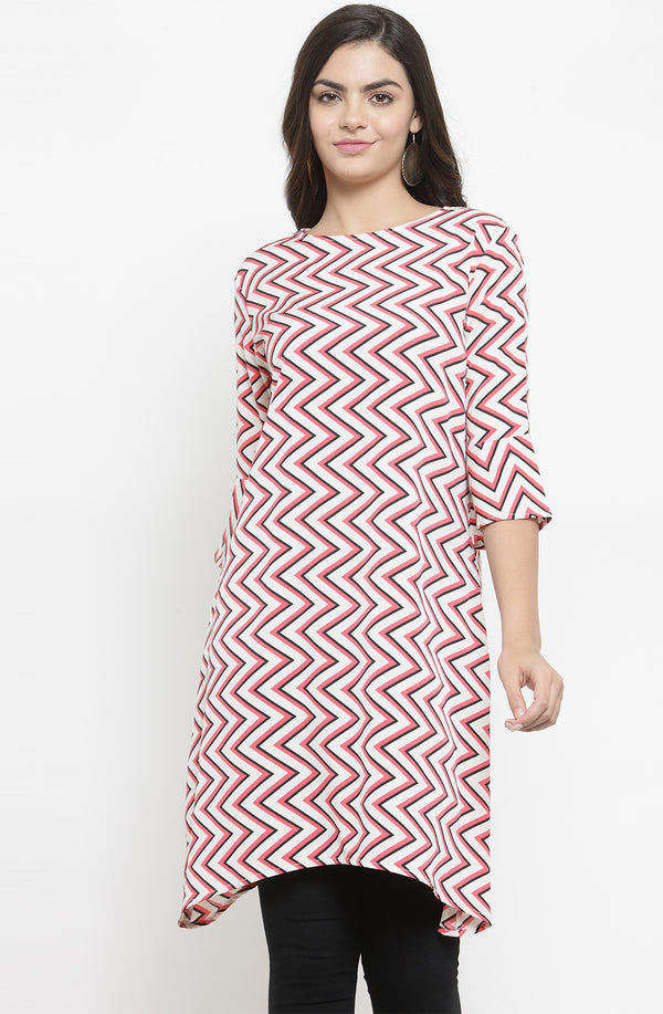Chevron Print Asymmetrical Tunic