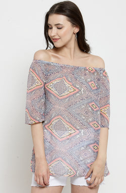 Tribal Print Off-the-Shoulder Top by Afamado