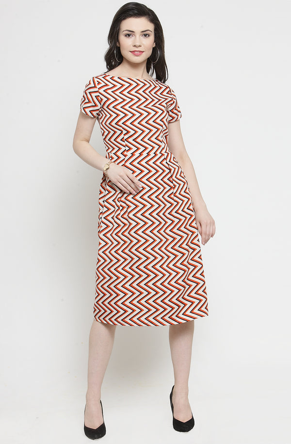 Chevron Pleated Summer Dress
