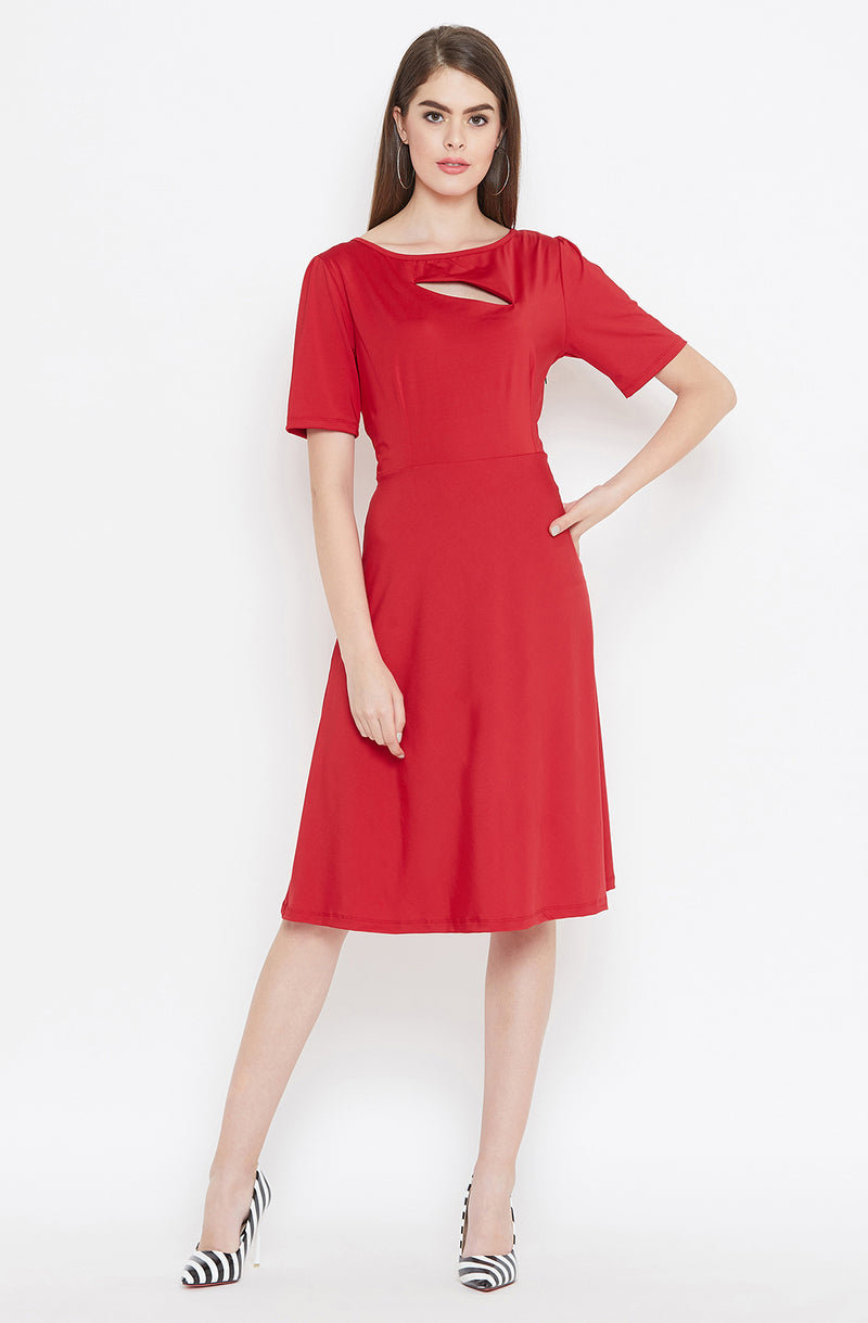 Cut-Out Neckline Red Dress by Afamado