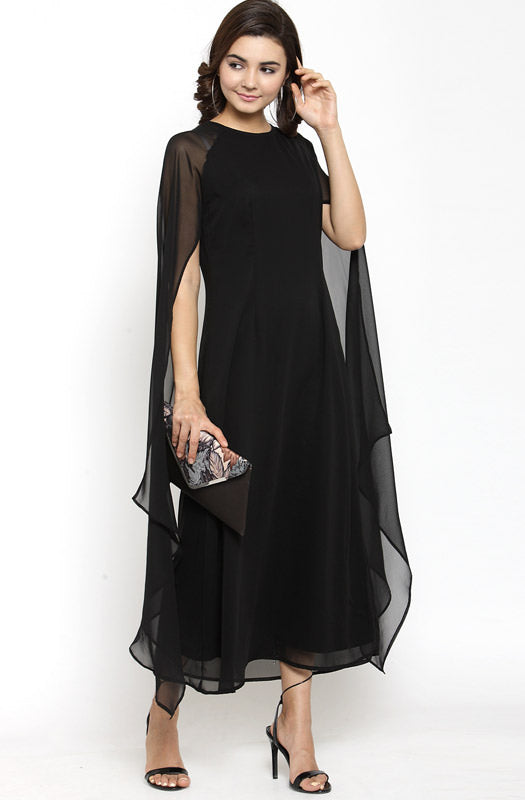 Formal Black-Boat Neck A-Line Dress with Cape Sleeves