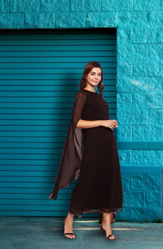 Formal Black-Boat Neck A-Line Dress with Cape Sleeves by Afamado