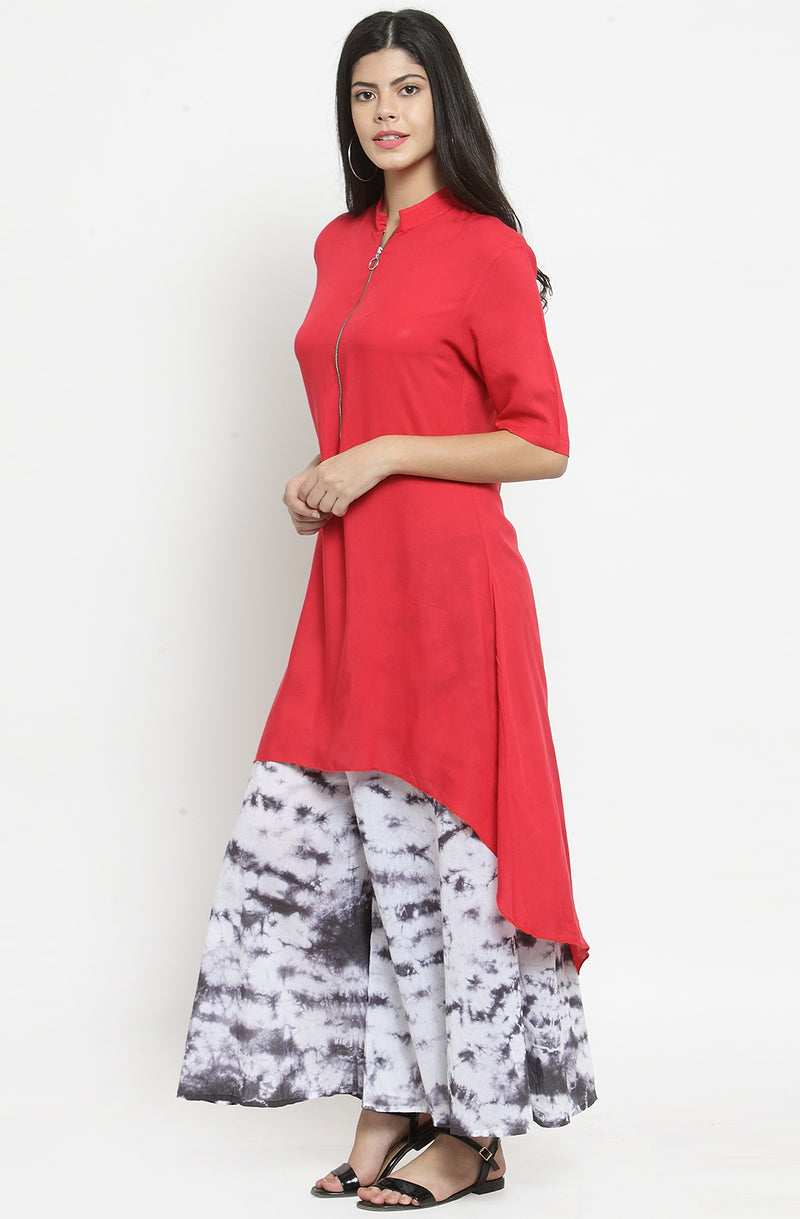 Red Asymmetrical Casual Tunic by Afamado
