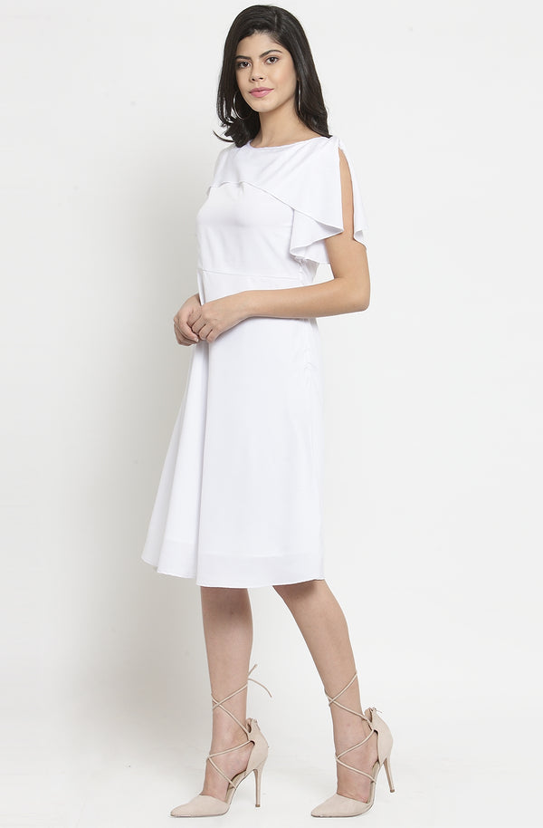White Ruffle Layered A-Line Party Dress by Afamado