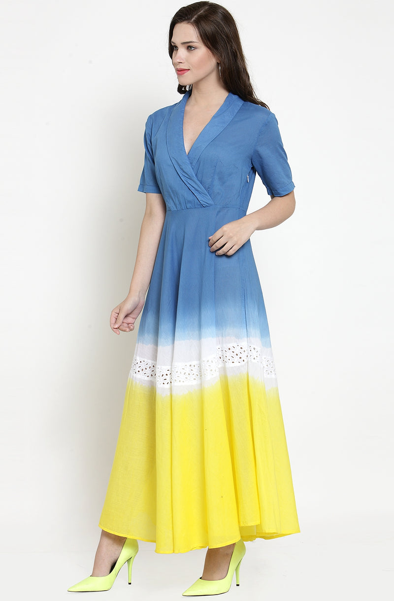 Multi-hued Collared Maxi Dress