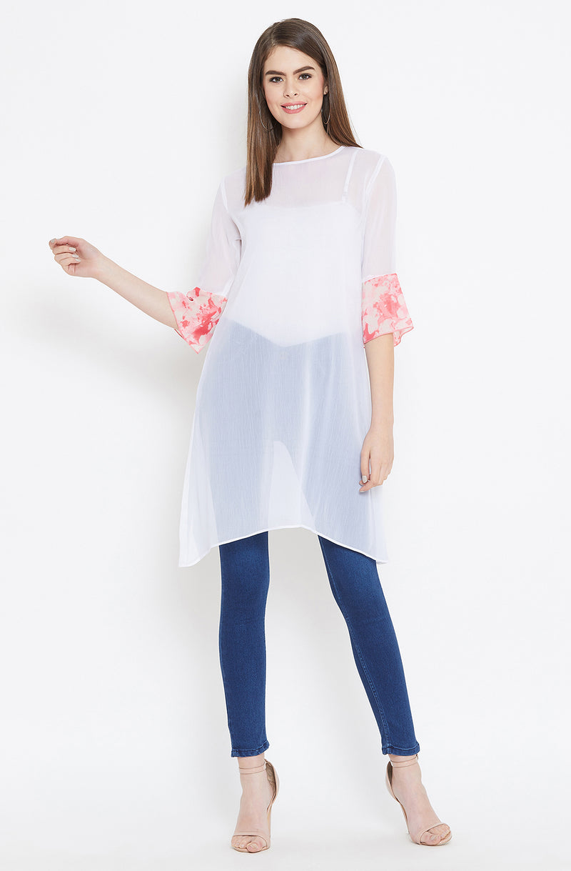White Long Sheer Top by Afamado