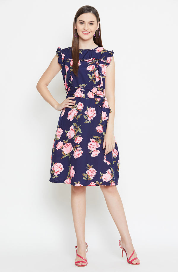 Ruffle  Printed Dress With Belt