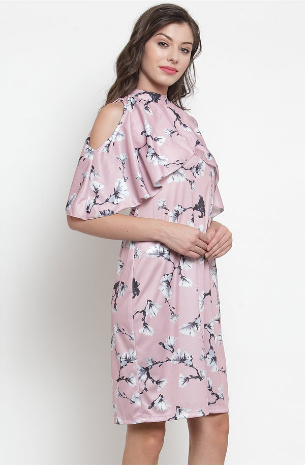 Floral Print Cold shoulder Cape dress