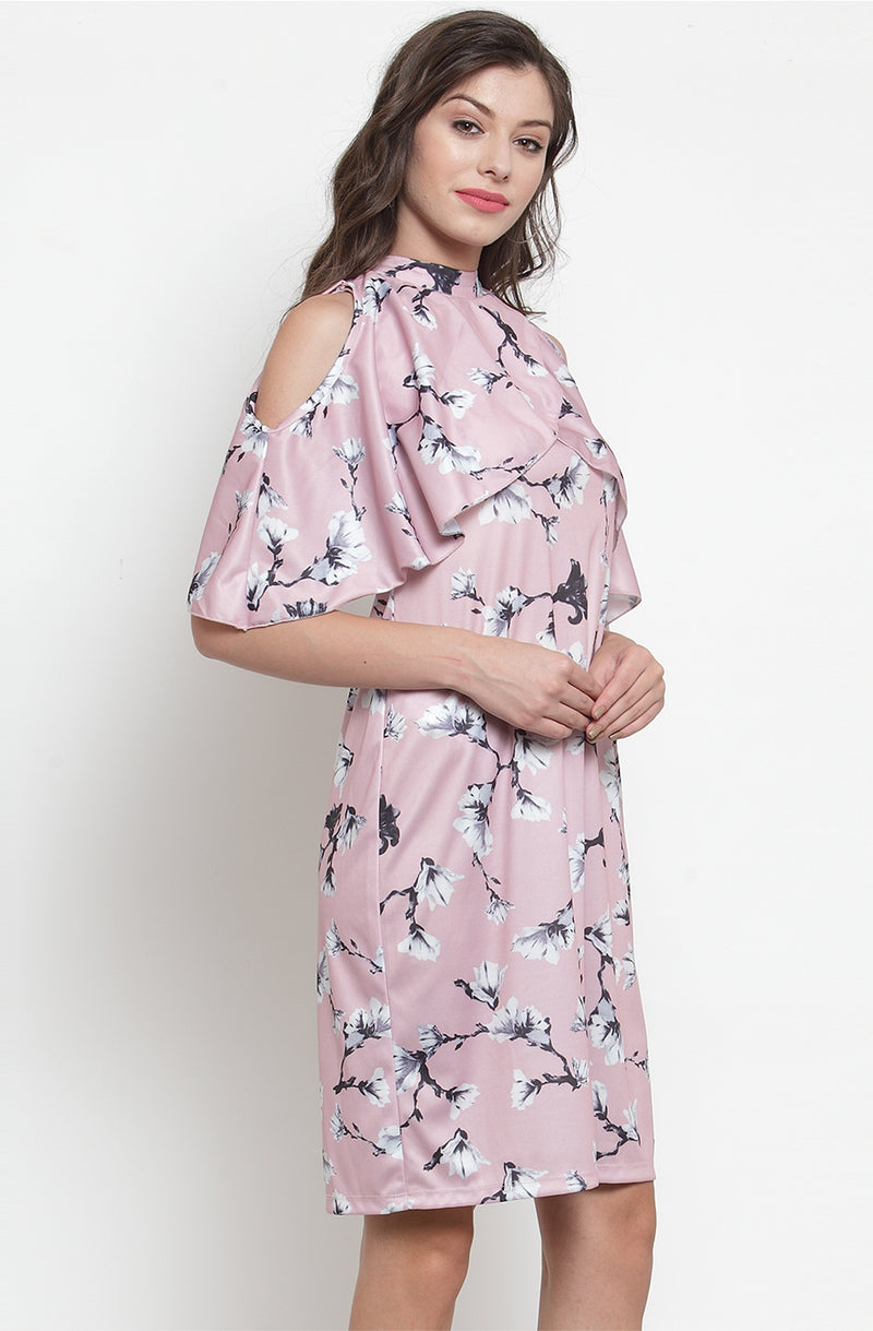 Floral Print Cold-Shoulder Cape Dress