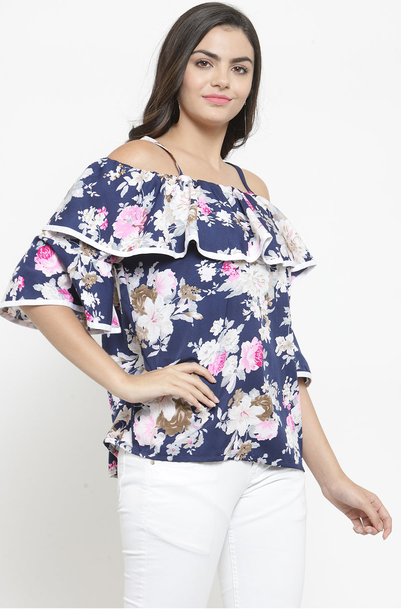 Floral Bardot Top with Strap