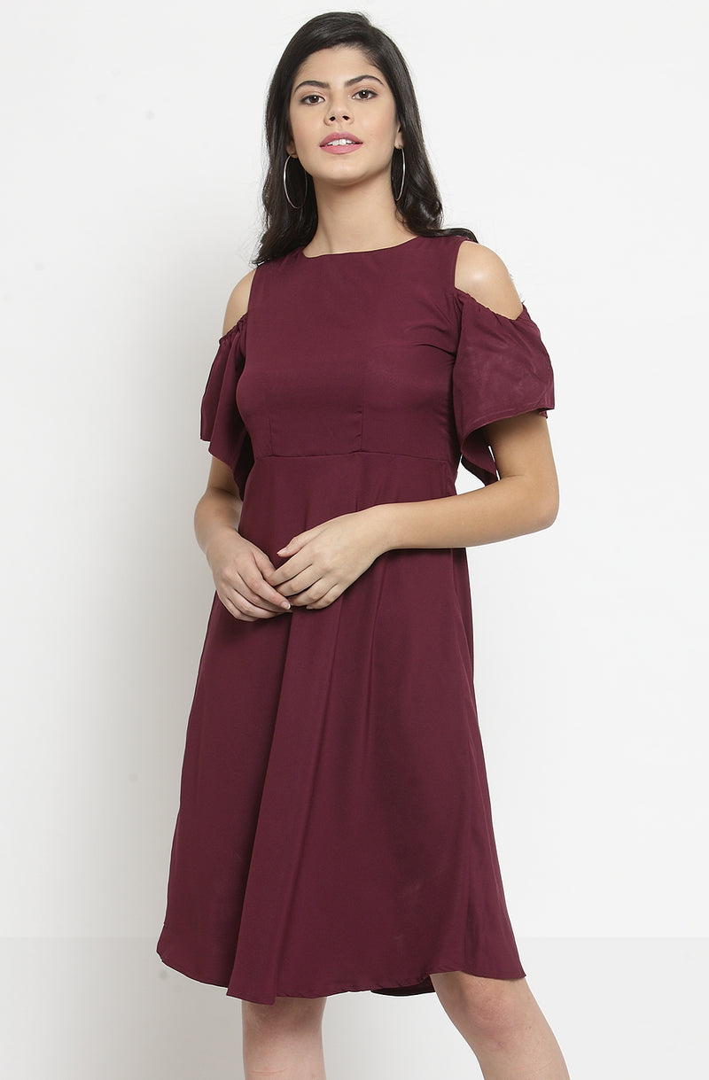 Cold-Shoulder Fit and Flare Party Dress