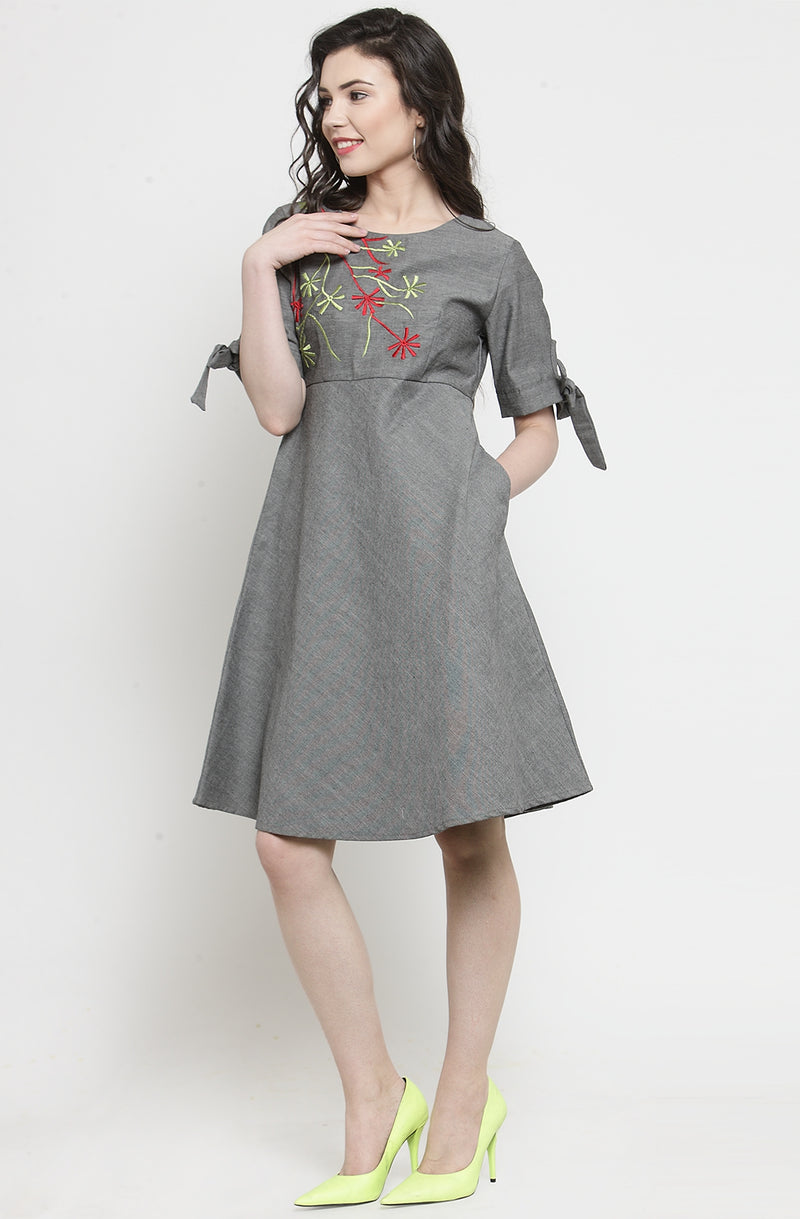 Embroidered Grey Chambray Dress
