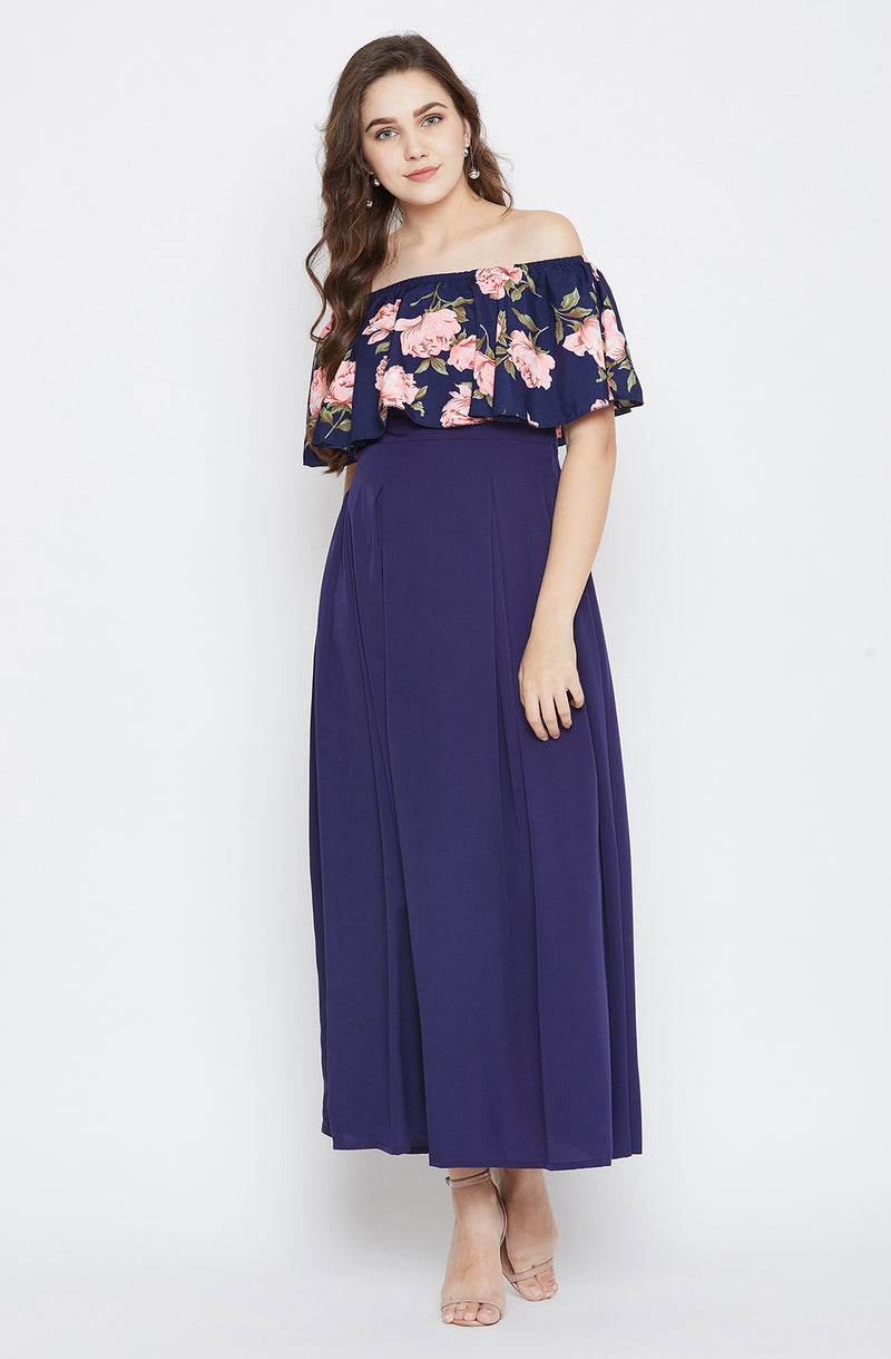 Off-Shoulder Dress With Embossed Flower Print