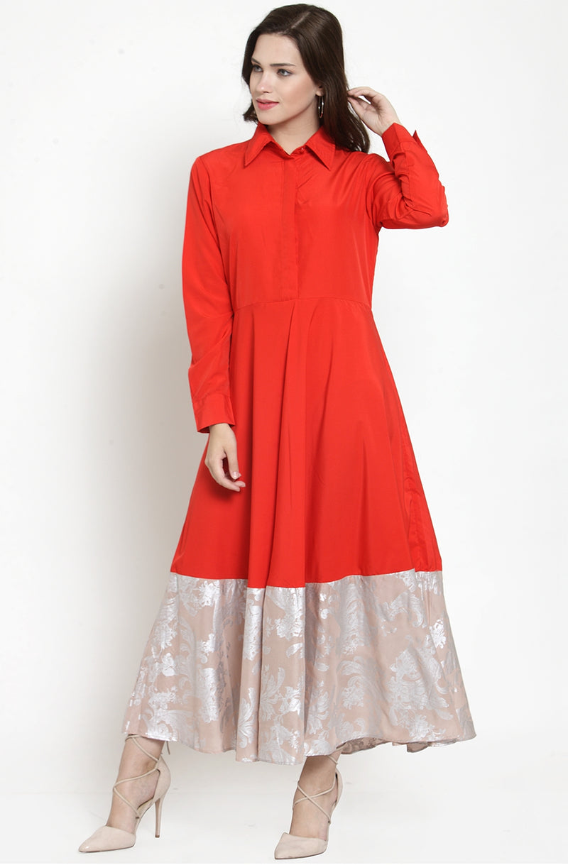 Red Maxi Dress with Contrast Hemline