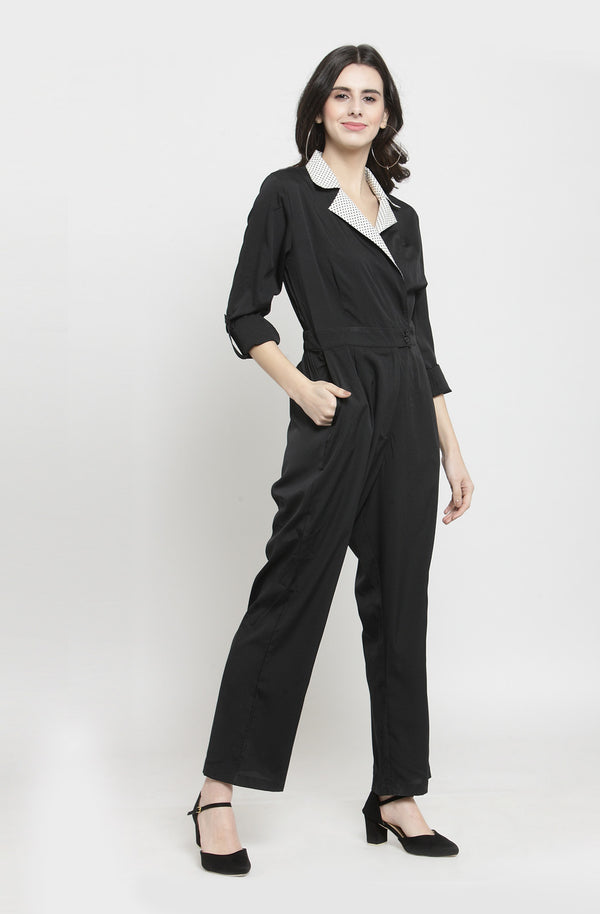 Contrast Double Collar Jumpsuit