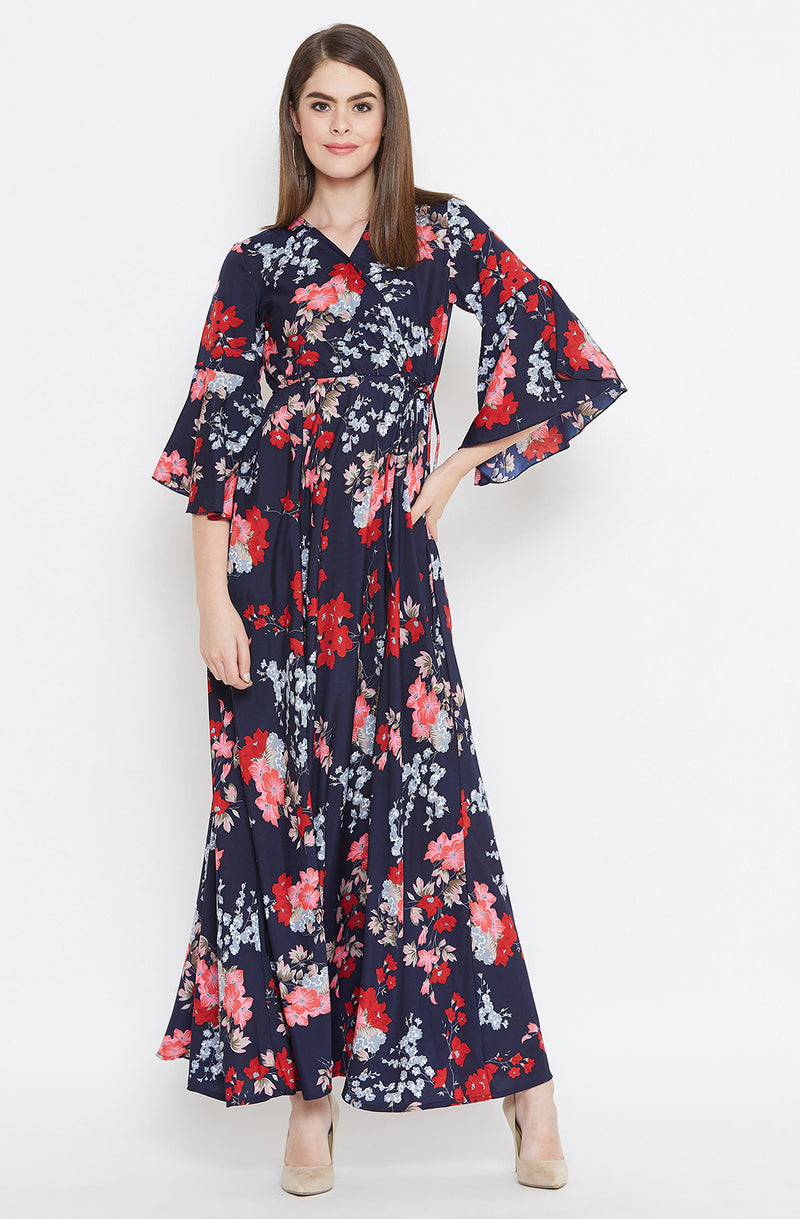 Floral Maxi Dress with Flared Sleeves by Afamado