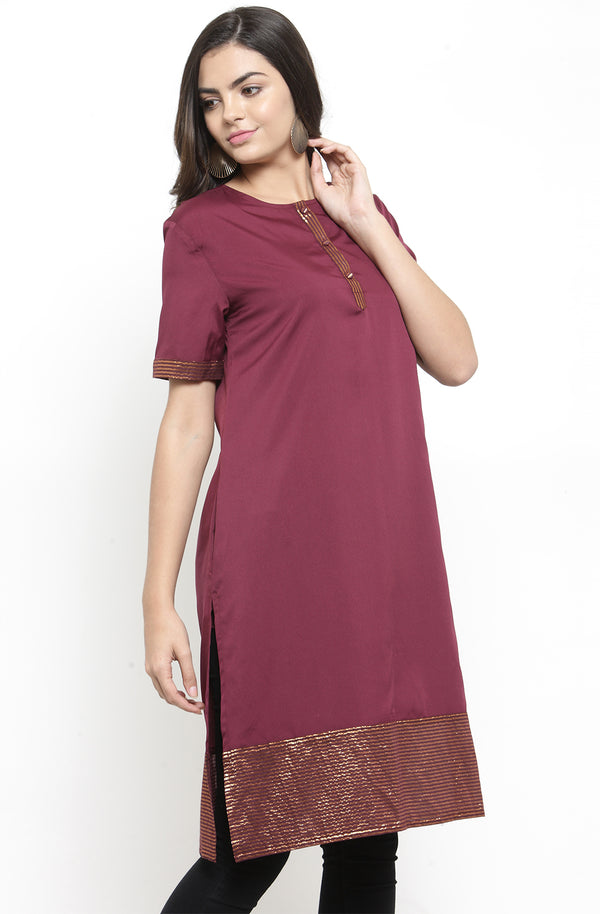 Burgundy Short-Sleeved Tunic
