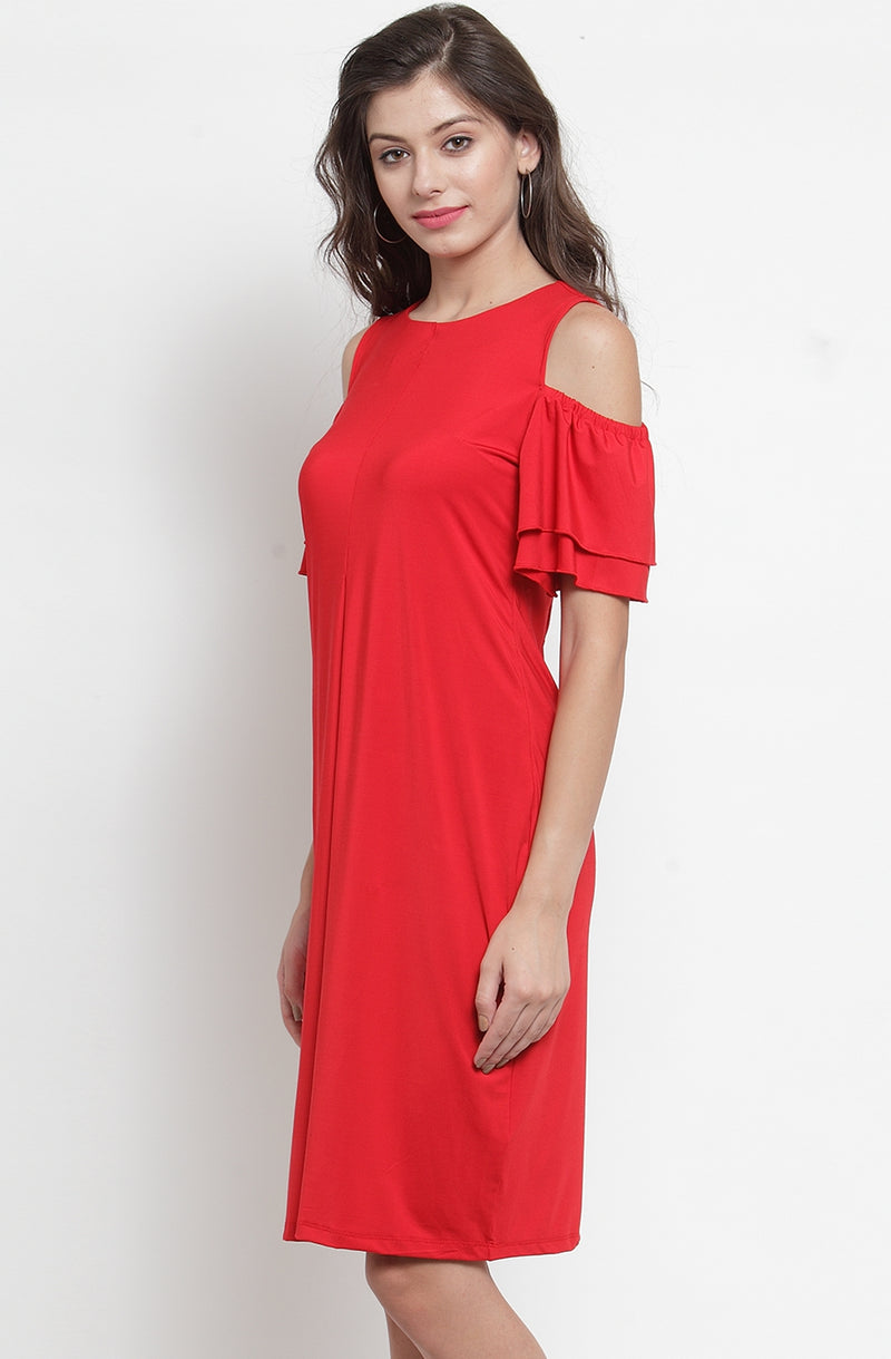 Layered Sleeve Cold-Shoulder Dress