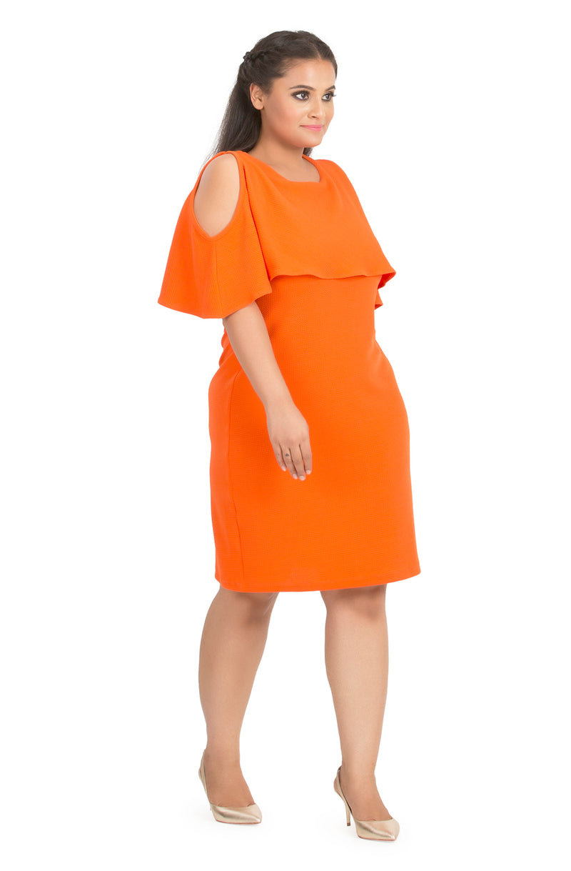 Round Neck Cape Dress
