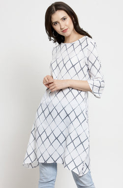 Diamond Checked Casual Tunic by Afamado