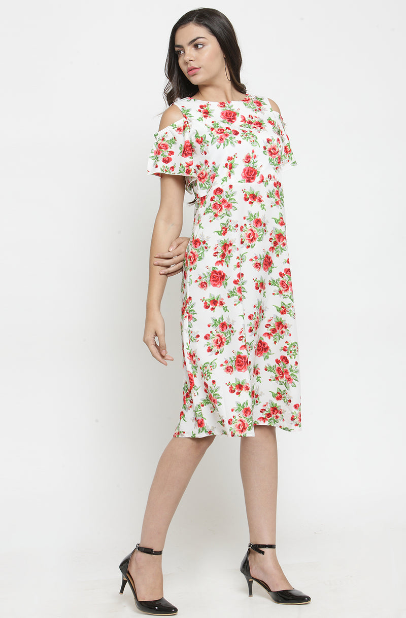 White Cold-Shoulder Floral Dress