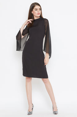Sheer Cape Sleeves Black Dress by Afamado