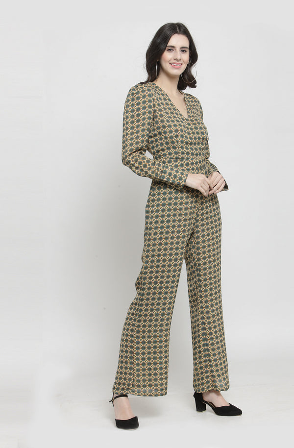 Geometric Print Long Sleeve Jumpsuit  by Afamado