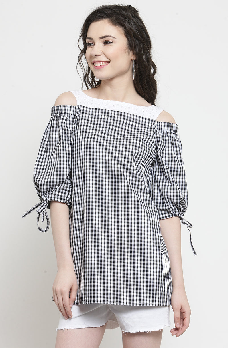 Gingham Print Tie Sleeve Top