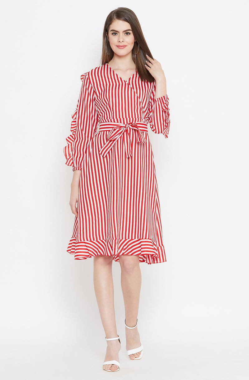 Scarlet Tie-Up Dress with Ruffled Sleeves