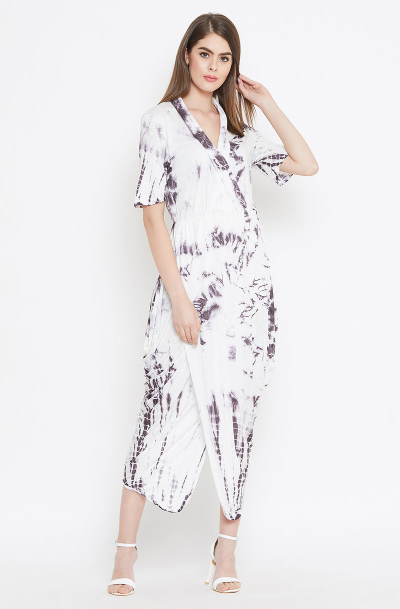 Collared Cotton Tie & Dye Drape Dress by Afamado