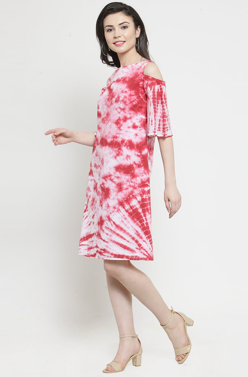 Red Tie-Dye Knee Length Dress