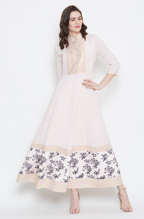 Peach Collared Anarkali Dress