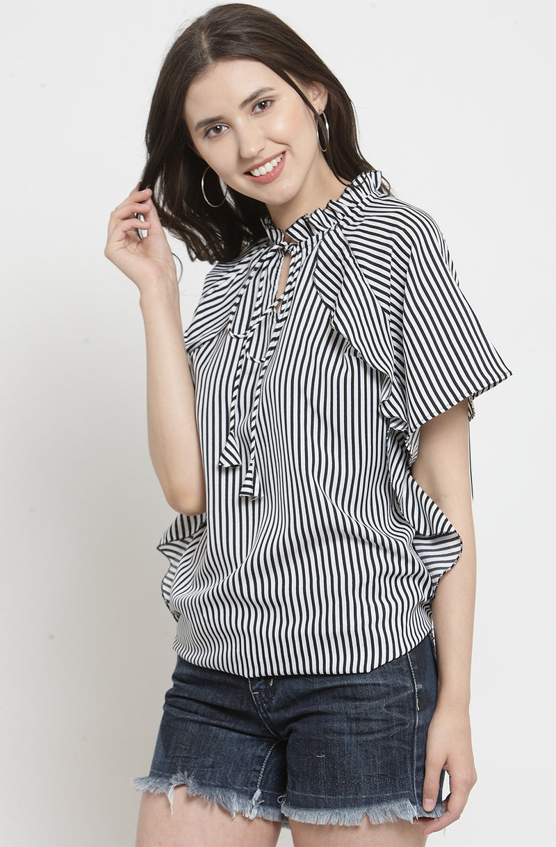 Nautical Stripe Ruffled Top