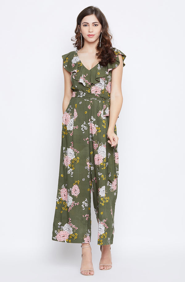 Floral Print Frilled Jumpsuit With Tie-Waist