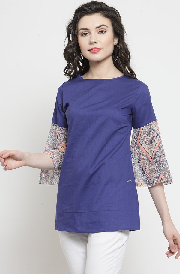 Women's Blue Semi-Casual Top