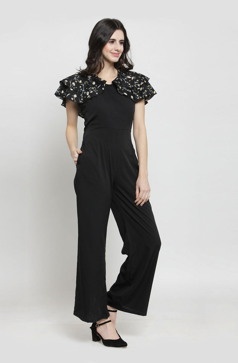 Contrast Tropical Print Black Jumpsuit  by Afamado