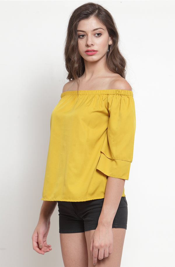 Double Layer Flare Sleeve Off-Shoulder Top