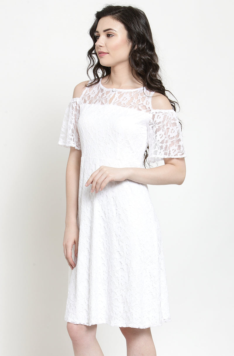 White Fit and Flare Lace Dress
