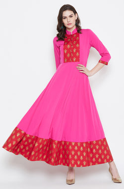 Pink And Red Anarkali Dress