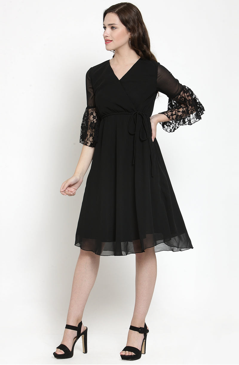 Black Solid Georgette Fit and Flare Dress